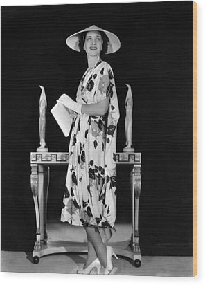 Kay Francis Modeling Floral-print Crepe Wood Print by Everett