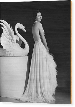 Kay Francis Modeling White Chiffon Wood Print by Everett