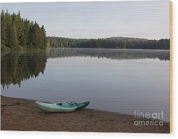Kayak On Pog Lake Wood Print by Chris Hill