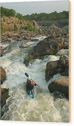 Kayaker Running Waterfalls At Great Wood Print by Skip Brown