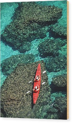 Kayakers In Clear Blue Water Wood Print by Ralph Lee Hopkins