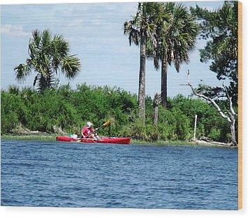 Kayaking Along The Gulf Coast Fl. Wood Print by Marilyn Holkham