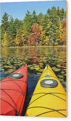 Wood Print featuring the photograph Kayaks In The Fall by Rick Frost