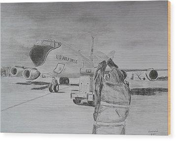 Kc-135 Study Wood Print by Brian Hustead