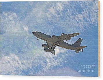 Kc-135 With Clouds Wood Print by Kenny Bosak