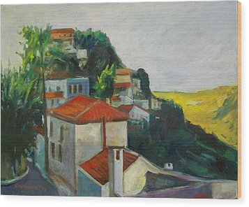 Kea-tzia.afternoon In Chora Wood Print by George Siaba