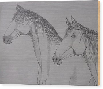 Wood Print featuring the drawing Keiger Mustangs by Gerald Strine