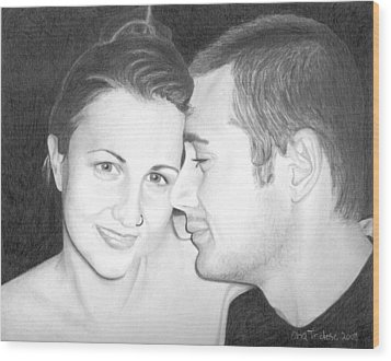 Wood Print featuring the drawing Kelly And Chris Lanktree by Ana Tirolese