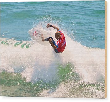 Kelly Slater Us Open Of Surfing 2012     8 Wood Print by Jason Waugh
