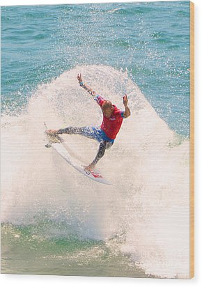 Kelly Slater Us Open Of Surfing 2012   2 Wood Print by Jason Waugh