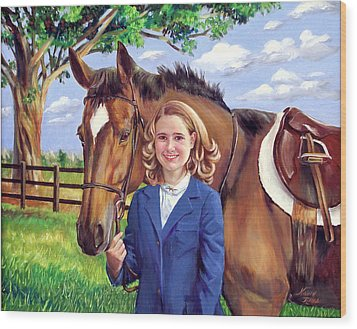 Wood Print featuring the painting Kendall And Her Horse by Nancy Tilles