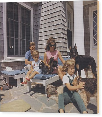 Kennedy Family And Their Many Dogs Wood Print by Everett
