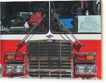 Kensington Fire District Fire Engine . 7d15861 Wood Print by Wingsdomain Art and Photography