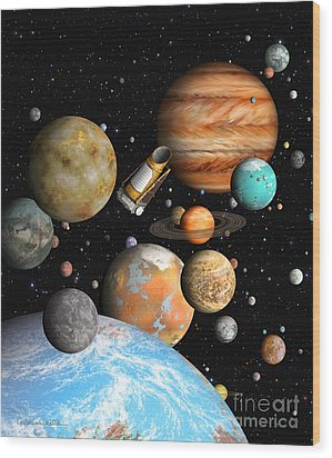 Kepler's Worlds Wood Print by Lynette Cook