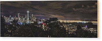 Kerry Park Night View Wood Print