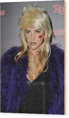 Kesha At The After-party For Rolling Wood Print by Everett