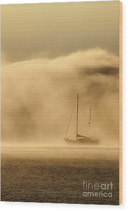 Ketch In Mist Wood Print by Avalon Fine Art Photography
