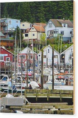 Ketchakan Alaska Marina Wood Print by Mindy Newman
