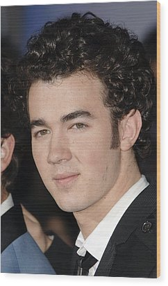 Kevin Jonas At Arrivals For Jonas Wood Print by Everett