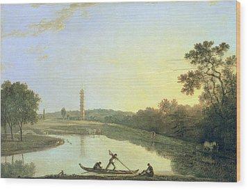 Kew Gardens - The Pagoda And Bridge Wood Print by Richard Wilson