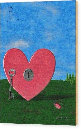Key To My Heart Wood Print by Jeffrey Kolker