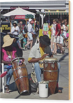 Wood Print featuring the photograph Key West Street Musicians by Helen Haw