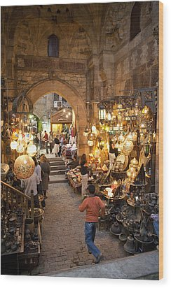 Khan El Khalili Market In Cairo Wood Print by Taylor S. Kennedy