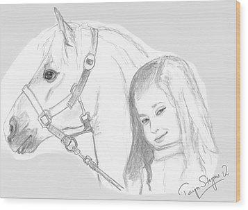 Kiara And Pony Wood Print