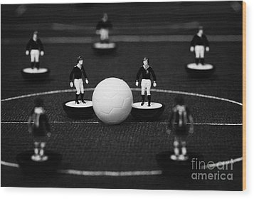 Kick Off Or Restart Football Soccer Scene Reinacted With Subbuteo Table Top Football Players Wood Print by Joe Fox