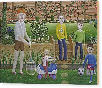 Kids In The Garden Wood Print by Ronald Haber