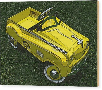 Kid's Pedal Car Taxi Wood Print by Samuel Sheats