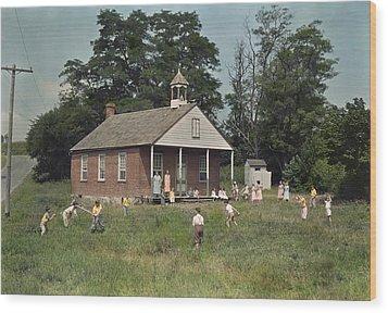 Kids Play Baseball During Recess Wood Print by J. Baylor Roberts