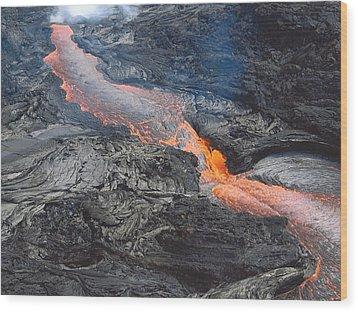 Wood Print featuring the photograph Kilauea Lava Flow by Karen Nicholson
