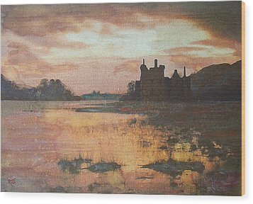 Wood Print featuring the painting Kilchurn Castle Scotland by Richard James Digance