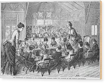 Kindergarten, 1876 Wood Print by Granger