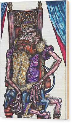 King Crabclaw And His Blue Dachshund Wood Print by Al Goldfarb