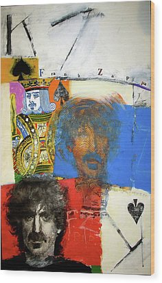 Wood Print featuring the mixed media King Of Spades 48-52 by Cliff Spohn