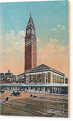 King St. Railroad Station In Seattle Wa In 1910 Wood Print by Dwight Goss