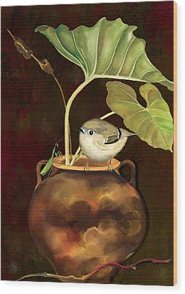 Wood Print featuring the painting Kinglet And Friend by Anne Beverley-Stamps