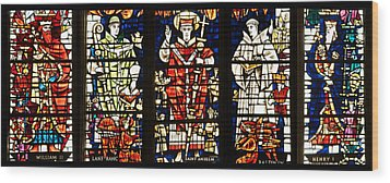 Kings And Holy Men Medieval Stained Glass Collage Wood Print by Lisa Knechtel