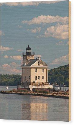 Wood Print featuring the photograph Kingston Rondout Lighthouse by Nancy De Flon