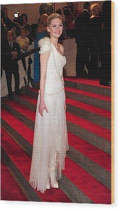 Kirsten Dunst  Wearing A Dress Wood Print by Everett