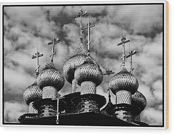 Wood Print featuring the photograph Kishi Domes Black And White by Rick Bragan