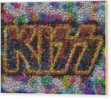 Kiss Bottle Cap Mosaic Wood Print by Paul Van Scott
