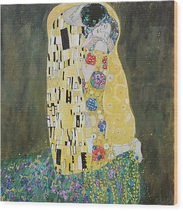 Kiss Copy Of Gustav Klimt Wood Print