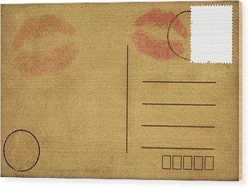Kiss Lips On Postcard Wood Print by Setsiri Silapasuwanchai