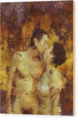 Kiss Me Again Wood Print by Kurt Van Wagner