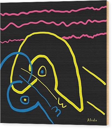 Kissing On The Beach Wood Print by Alec Drake