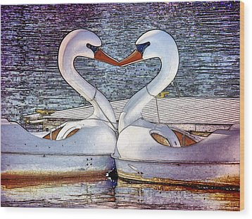 Wood Print featuring the photograph Kissing Swans by Alice Gipson