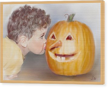 Wood Print featuring the painting Kissy Face by Bonnie Willis